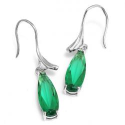 NEW Green Emerald Hoop Sterling silver Earring - RKM Shipping Free, Tax Free