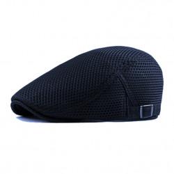 Blue Flat Cap, Breathable Hat, Adjustable Newsboy Beret Cap - RKM Shipping Free, Tax Free