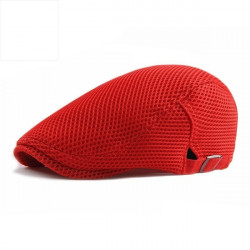 Red Flat Cap, Breathable Hat, Adjustable Newsboy Beret Cap - RKM Shipping Free, Tax Free